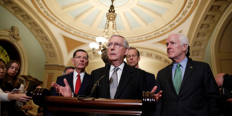Image: Senate Majority Leader Mitch McConnell speaks after the Republican policy luncheon