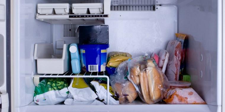 Freezer with food.