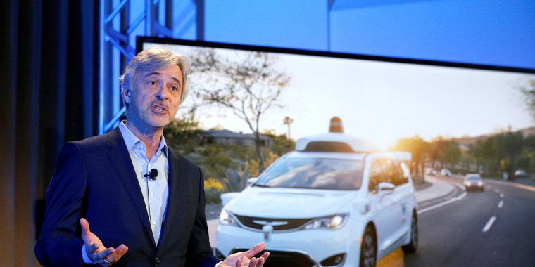 Image: Krafcik CEO of Waymo is pictured during the unveiling of a driverless car in the Manhattan borough of New York City
