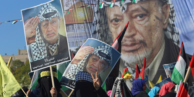 Image: Palestinians mark the 13th anniversary Palestinian President Yasser Arafat's death in Gaza City