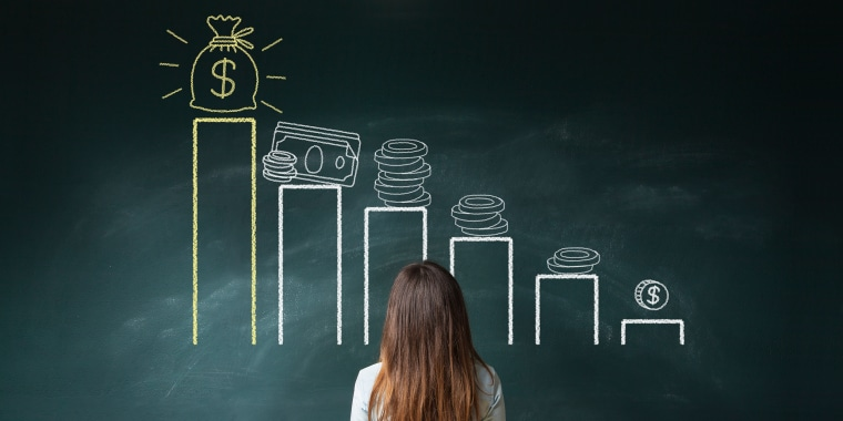 Image: Businesswoman looking at a financial chart on chalkboard