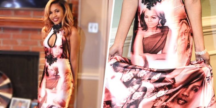 Memphis teen Skyler Branch's prom dress featuring iconic African American women.