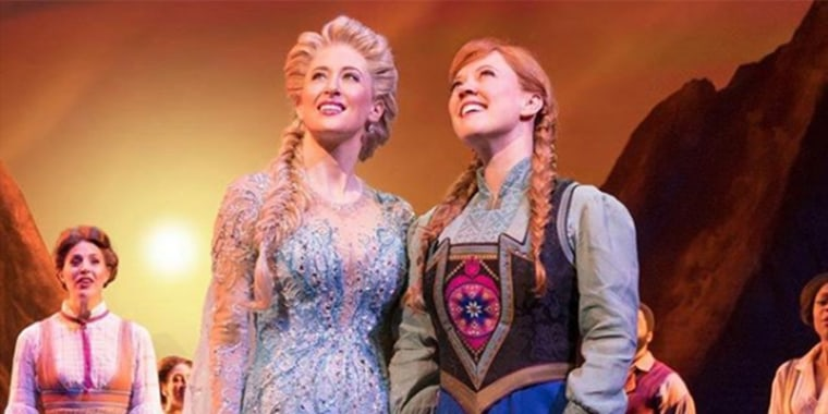 Sometimes being a sister is better than being a princess. I love you, @caissielevy. You're stuck with me. #frozenbroadway