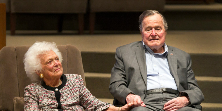 Image: Former First Lady Barbara Bush and former President George H.W. Bush attend an event in Houston