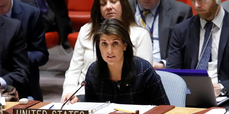 Image: US Ambassador to the UN Nikki Haley speaks during a UN Security Council meeting on the Crisis in the Middle East at the UN headquarters in New York