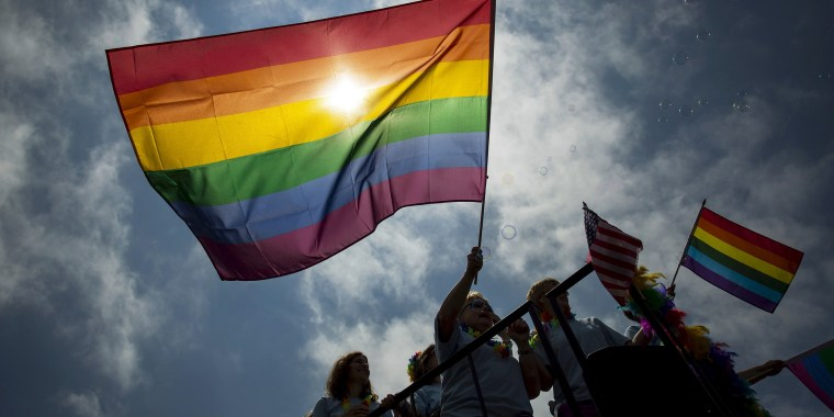 Image: People march in the annual NYC Gay Pride parade