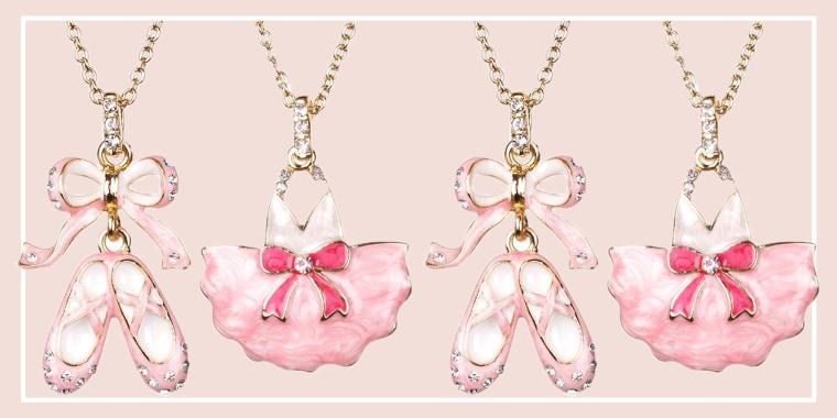 Crystal Adorned Enamel BALLERINA Necklace Set 2