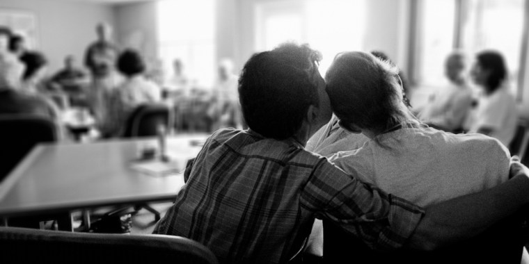 Image: Families with patients at an AIDS hospice