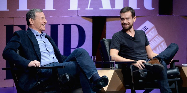Image: Bob Iger and Jack Dorsey speak during the Vanity Fair New Establishment Summit