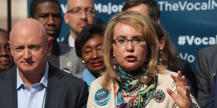 Image: Rep. Gabby Giffords, D-Ariz speaks during her 2016 Vocal Majority Tour