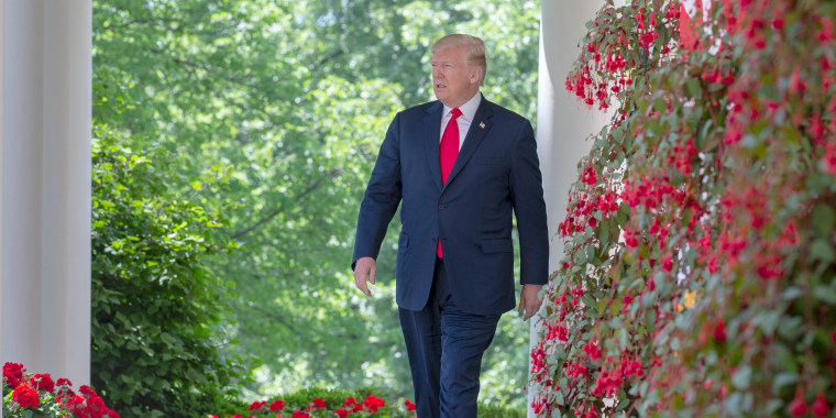 Image: President Donald J. Trump walks along the colonnade outside the Oval Office prior to a National Day of Prayer event in the Rose Garden at the White House in Washington, DC, May 3, 2018.