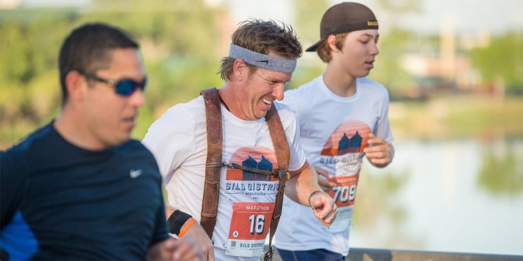 Chip Gaines running the Silo District Marathon