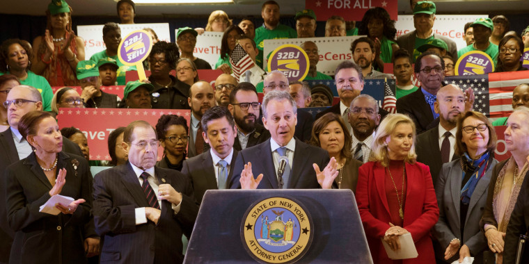 Image: Schneiderman speaks during a news conference