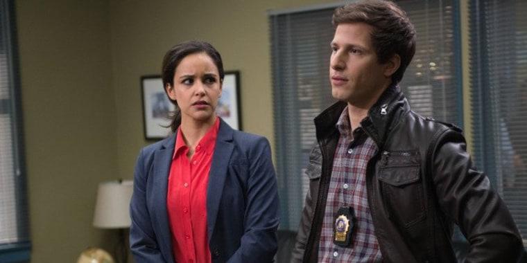 "Andy Samberg and Melissa Fumero as detectives Jake Peralta and Amy Santiago on ""Brooklyn Nine Nine."""