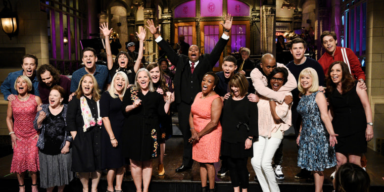 "Image: Beck Bennett, Kyle Mooney, Luke Null, Melissa Villase?or, Aidy Bryant, Kenan Thompson, Mikey Day, Chris Redd, Colin Jost, Pete Davidson and their mothers during ""Mother's Day Cold Open"" on Saturday Night Live, May 12, 2018."