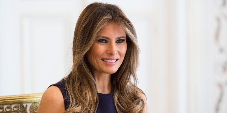 First Lady Melania Trump is pictured during a meeting with Polish President's wife Agata Kornhauser-Duda (Unseen) at the Belvedere Palace in Warsaw on July 6, 2017.