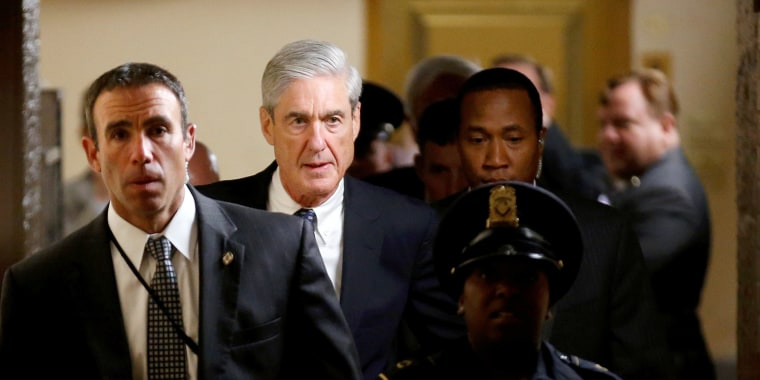 Image: Special Counsel Robert Mueller departs after briefing members of the U.S. Senate on his investigation of potential collusion between Russia and the Trump campaign in Washington