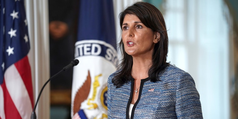 Image: U.S. Ambassador to the United Nations Nikki Haley delivers remarks to the press together with U.S. Secretary of State Mike Pompeo, announcing the U.S.'s withdrawal from the U.N's Human Rights Council at the Department of State in Washington