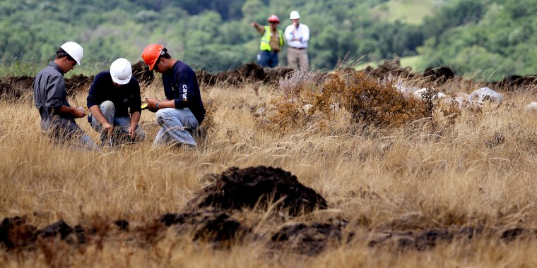 Image: Environmental workers take samples to assess level of contamination, and surveyors measure size of affected area at the site of saltwater spill