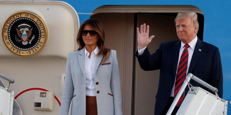 Image: President Donald Trump and first lady Melania Trump arrive at Helsinki-Vantaa airport in Vantaa
