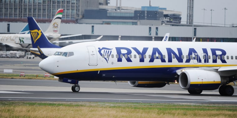 Image: A Ryanair aircraft at Dublin airport in Ireland