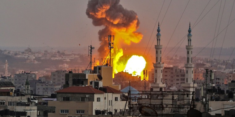 Image: A fireball exploding in Gaza City during Israeli bombardment on July 20, 2018