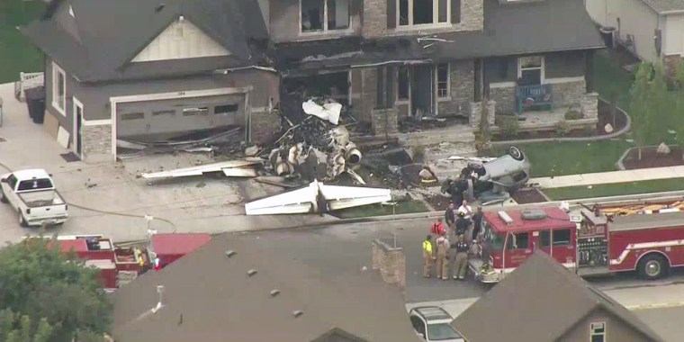 The scene where a plane crashed into a home in Payson, Utah
