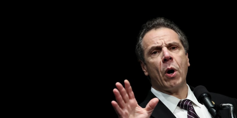 Image: New York Governor Andrew Cuomo speaks at a healthcare union rally in New York