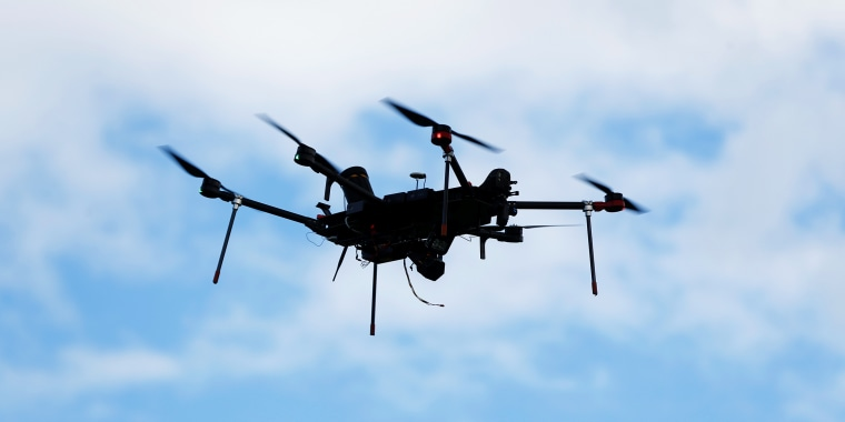 An Airspace Systems Interceptor autonomous aerial drone flies during a product demonstration in Castro Valley, California.