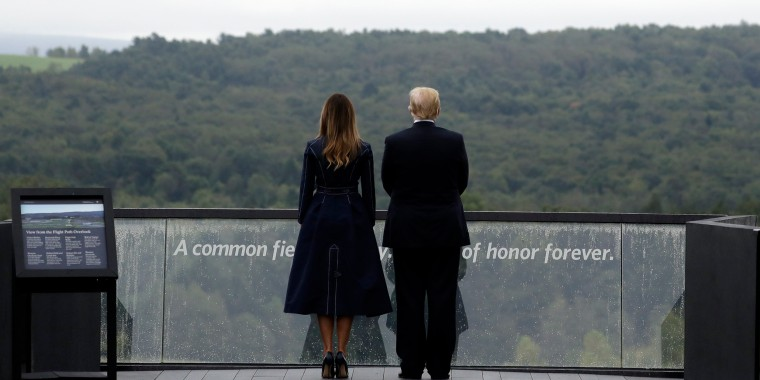 Image: President Donald Trump and first lady Melania Trump, stand along the September 11th Flight 93 memoria