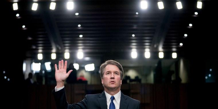 Image: Brett Kavanaugh  is sworn-in before the Senate Judiciary Committee on Capitol Hill