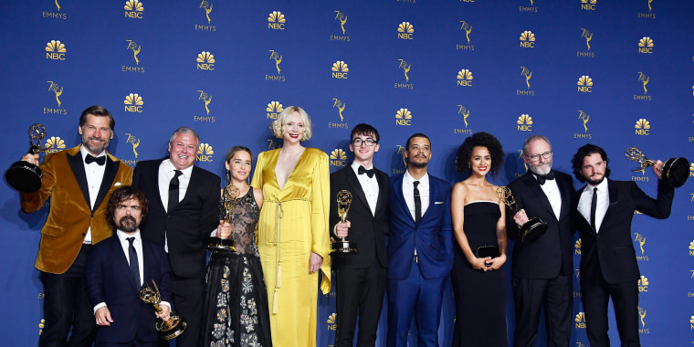 Image: Cast of Outstanding Drama Series winner 'Game of Thrones' in the press room during the 70th Emmy Awards