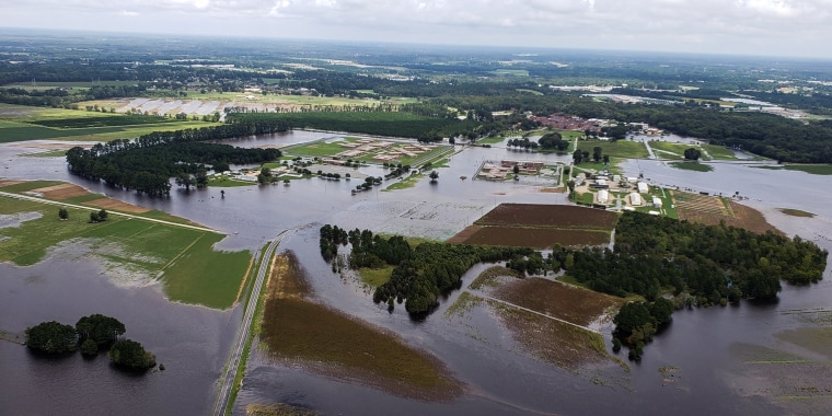 Image: Aerial view of farms flooded after the passing of Hurricane Florence in Eastern North Carolina