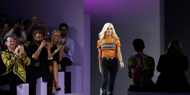 Image: Donatella Versace walks on the catwalk