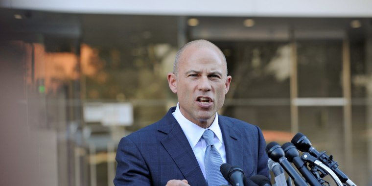 Image: Avenatti speaks to the media outside the U.S. District Court for the Central District of California in Los Angeles