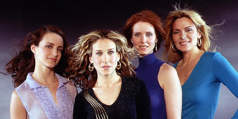 SEX AND THE CITY. (l to r): Kristin Davis, Sarah Jessica Parker, Cynthia Nixon, Kim Cattrall. 1998-2