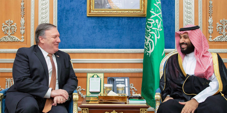 Image: Secretary of State Mike Pompeo meeting with Saudi Crown Prince Mohammed bin Salman