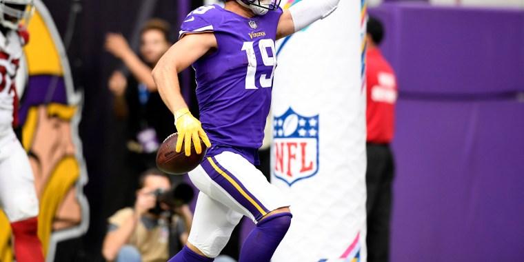Adam Thielen #19 of the Minnesota Vikings celebrates after scoring a touchdown
