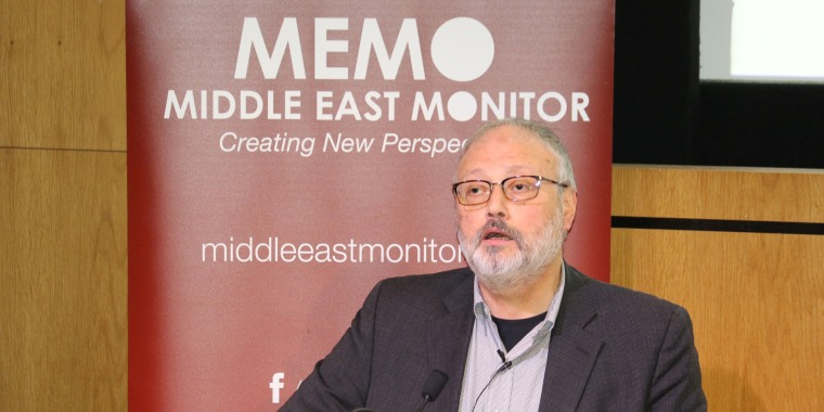 Image: Saudi dissident Jamal Khashoggi speaks at an event hosted by Middle East Monitor in London