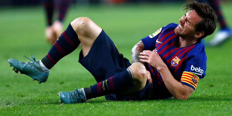 Image: FC Barcelona's Lionel Messi reacts during the Spanish La Liga soccer match