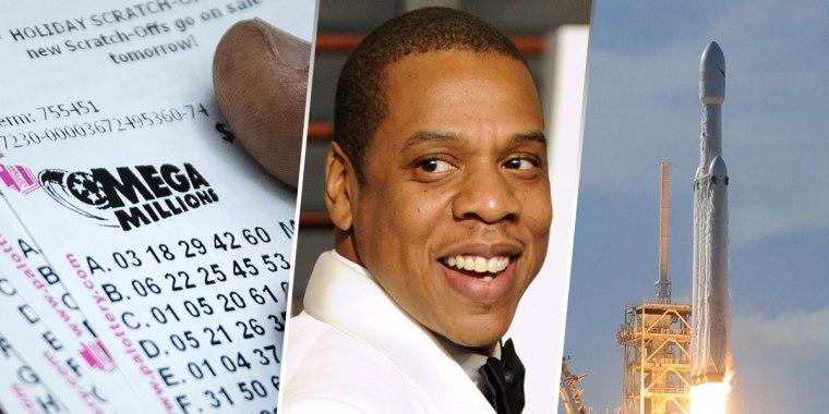 Image: Mega Million Ticket, Jay-Z, Space X Heavy Falcon launch
