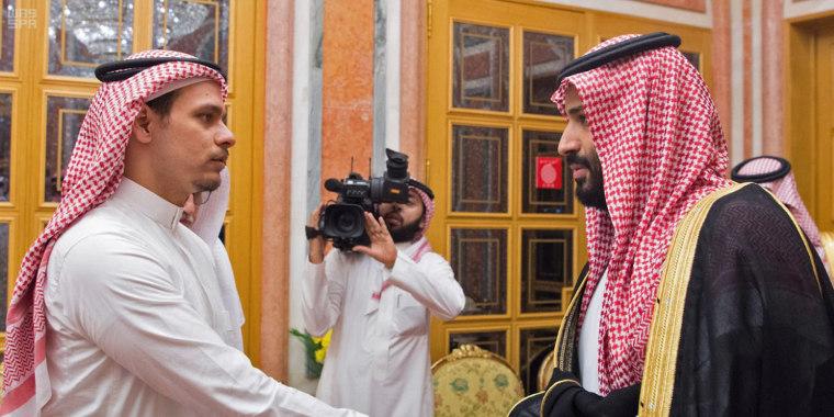 Image: Saudi Crown Prince Mohammed bin Salman meeting with Jamal Khashoggi's sons Salah and Sahel in Riyadh