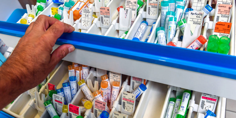 Tubes of homeopathic granules at a pharmacy in Lille, France on Sept. 3, 2018.