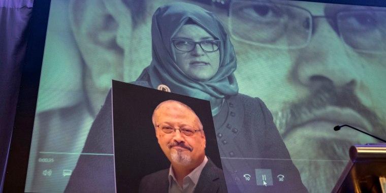 Image: A video image of Hatice Cengiz, fiancee of slain Saudi journalist Jamal Khashoggi, is played during an event to remember Khashoggi, who was killed inside the Saudi Consulate in Istanbul