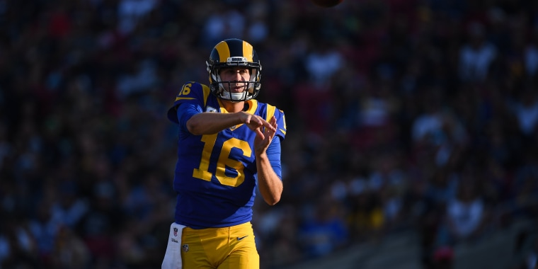 Quarterback Jared Goff #16 of the Los Angeles Rams passes in the third quarter against the Seattle Seahawks at Los Angeles Memorial Coliseum on Nov. 11, 2018 in Los Angeles.