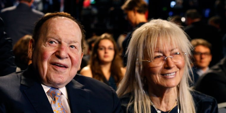Sheldon Adelson and his wife Miriam wait for the presidential debate between Hillary Clinton and Donald Trump at Hofstra University in Hempstead, New York, on Sept. 26, 2016.