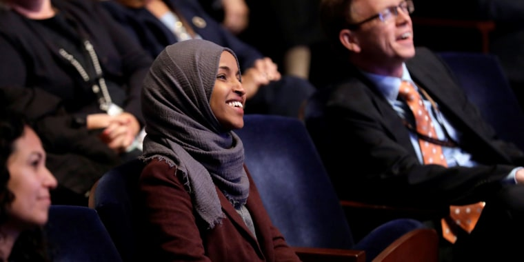 Rep. Ilhan Omar during a House of Representatives member-elect welcome briefing on Capitol Hill on Nov. 15, 2018.