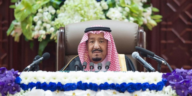 Image: Saudi King Salman bin Abdulaziz Al Saud addressing the Shura Council new session in Riyadh