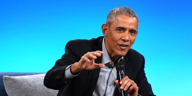 Former President Barack Obama speaks at the Obama Foundation Summit in Chicago on Nov. 19, 2018.