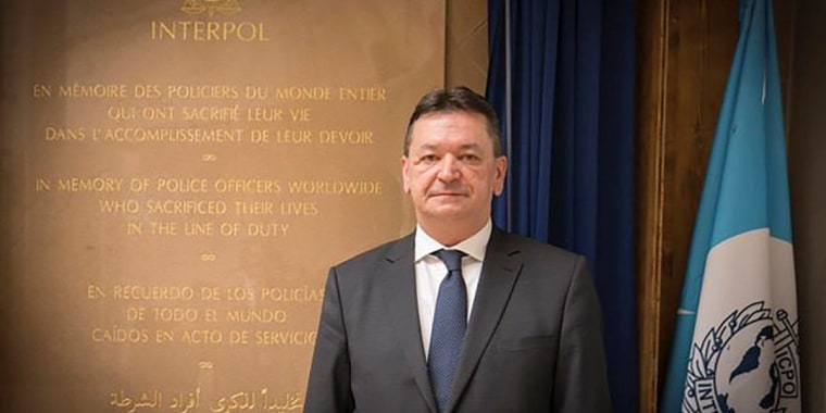 Image: Alexander Prokopchuk, Russian candidate to head international police organisation Interpol, during a ceremony to open a monument to police in Bangkok